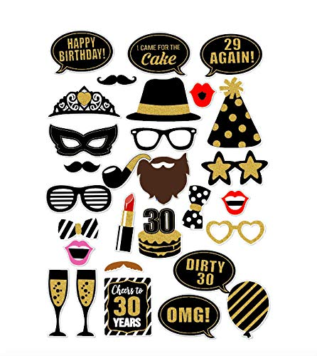 dreißigsten Jahr Geburtstag Party Masken Favor Photo Booth Requisiten auf Stick ()