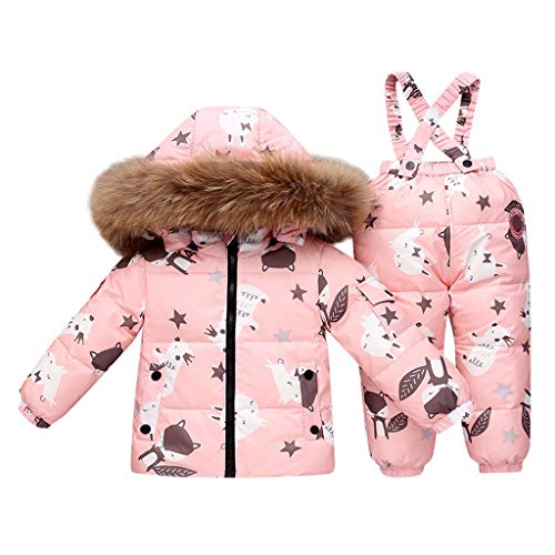 Isshop Baby Kostüm Kinder Jungen Winter Kunstpelz Kapuzen Parka Daunen Puffer Gepolsterter Mantel Hosen Set Casual Comfort Set für Jungen und Mädchen -