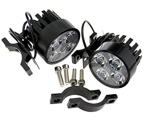 2x 4LED Lampe feux phare avant pour moto antibrouillard Aluminium