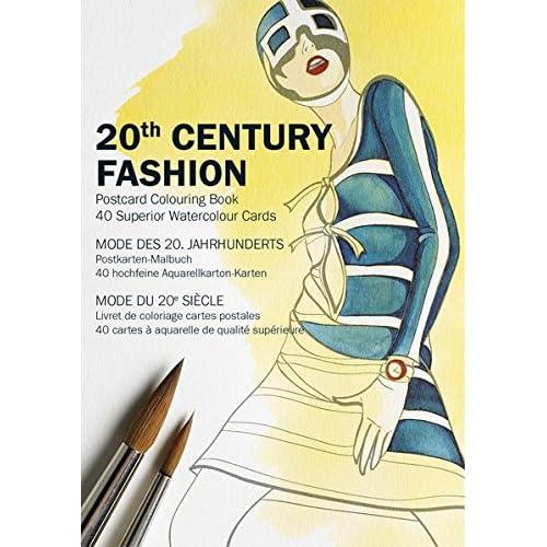 Mode du 20e siècle : Livrets de coloriage, carte postales, 40 cartes à aquarelle de qualité supérieure
