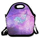 Galaxy Space Dolphin Lunch Bag Handtasche Lunchbox Food Container Tote Cooler Warm Tasche für Schule Arbeit Büro