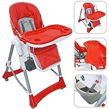 Todeco - Silla Alta de Bebé, Silla Alta de Bebé Plegable - Tamaño desplegada: 105 x 75 x 60 cm - Material: PP - Rojo