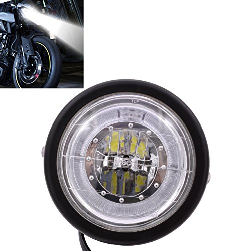 Faro a LED KaTur per moto, 16 cm per Kawasaki, Harley, Honda, Suzuki, Yamaha, con staffa, fari Angel Eyes blu