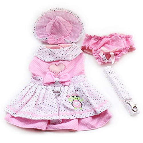 7°MR Shop Hundekleider Rosa Prinzessin Kleid Für Hunde Haustier Kleidung Liefert (Kleid + Hut + Höschen + Gürtel = 1 Satz) (Color : Pink, Size : S)