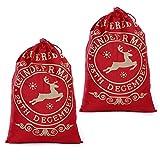 2sacchi di Babbo Natale in iuta, di misura grande, borse vintage per regali di Natale, da riempire come la calza Red delivered 2pcs