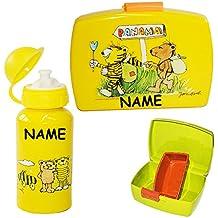 Set Brotdose Janosch Trinkflasche Brotb/üchse 3 TLG gelb Unterlage