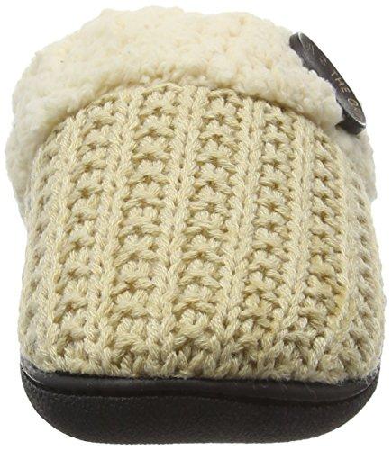 Dearfoams - Knit Closed Toe Scuff With Memory Foam, Pantofole Donna Bianco (Oatmeal Heather 00294)