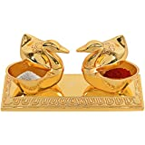 Jaipuri haat Golden Metal Love Bird Duck with Chandan Roli Chopda Pair For Gift and Pooja Purpose