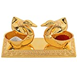 #6: Jaipuri haat Golden Metal Love Bird Duck with Chandan Roli Chopda Pair For Gift and Pooja Purpose