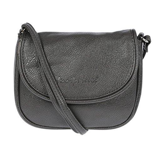 Kleine Damen Handtasche Umhängetasche 18 x 14 cm (schwarz) Grau