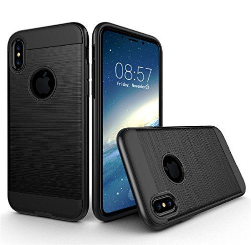 iPhone X Hülle, MOONMINI 2 in 1 Weich TPU Silikon Schale + Hard PC Dual Layer Hybrid Handy Tasche Case Slim Stoßfest Back Schutzschale Schutzhülle für iPhone X (2017) Grau Schwarz