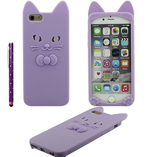 iPhone 6S Coque Mince Style, 3D Animal Chat Forme Divers Couleur Ultra Soft Doux Silicone Gel Housse de Protection Case Pour Apple iPhone 6 / 6S 4.7 inch avec 1 stylet - Rose pourpre