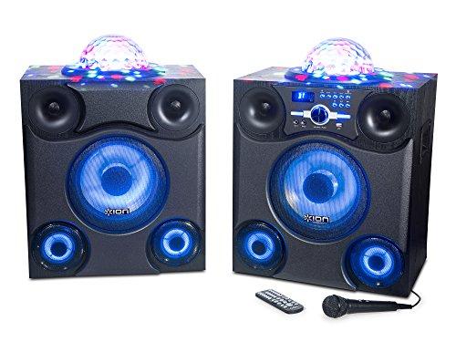 ION Audio Mega Party Express | 600 Watt Bluetooth Sound System mit LED Partybeleuchtung, FM Radio, Mikrofon und Fernbedienung