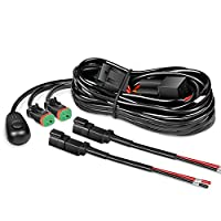 ‏‪Nilight 16AWG DT Connector Wiring Harness Kit LED Light Bar 12V On Off Switch Power Relay Blade Fuse for Off Road Lights LED Work Light-2 Leads 16AWG Wiring Harness Kit-2 Leads NI-WA 12‬‏