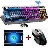 LexonElec Keyboard Mouse Combo 1000mAhGrand capacité Technologie sans fil 2.4G Clavier Gamer rétroéclairé par LED + 1600DPI Réglage sans fil à 6 boutons Optical Gamer Mouse + Tapis de souris