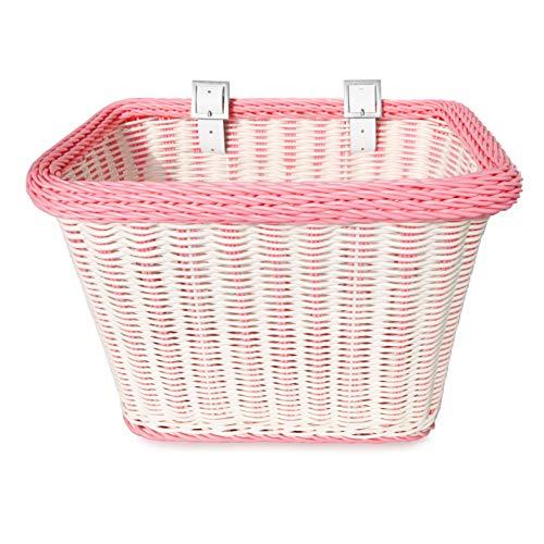 colorbasket 00696 Fahrradkorb für Erwachsene, wasserabweisend, Lederriemen, Unisex-Erwachsene, Adult Front Handlebar Rectangle Bike Basket, weiß/rosa, White and Pink Trim -