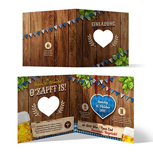 Lasergeschnittene Einladungskarten (30 Stück) Oktoberfest Geburtstag Bayern - O\'zapft is! in Blau