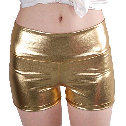 JNTworld Frauen Sexy Kunstleder High Waist Shorts Satin dünne Hose , S, Gold