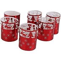 Lot de 6pcs Abat-jour de Bougie à LED Ajouré Thème de Noël Décoration Romantique (Rouge)