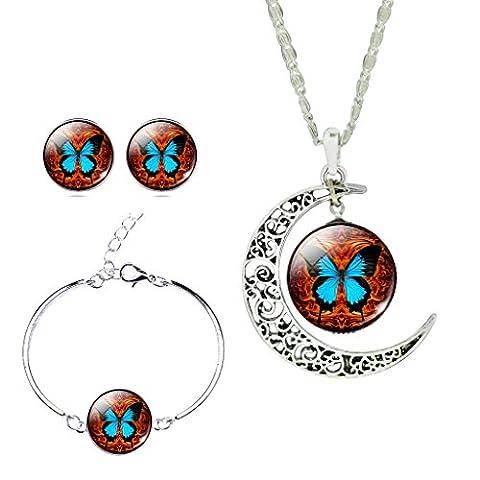Unique Design Burning Butterfly Crescent Moon Pendant Necklace Bracelet Earrings Set for Women Lady