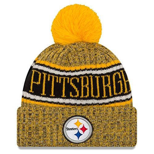New Era Pittsburgh Steelers Beanie NFL 2018 Sideline Sport Reverse Knit Yellow/Black - One-Size