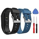 MoKo Correa para Fitbit Charge HR, [2 Pack] Pulsera de Goma para Fitbit Charge HR, Suave Silicona Banda para Fitbit Charge HR Fitness Smart Watch, Tmaño L, Negro & Azul Oscuro