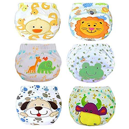 Zhongke Baby Potty Training Pants Sous-vêtements Formation des bambins Réutilisable 4 couches de coton doux Couche absorbante Mignon pour les garçons filles (pack de 6)