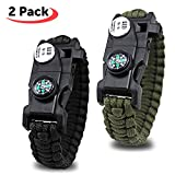 SOS Paracord Armband, 20 in 1 Emergency Survival Kits mit LED Licht, Feuer Starter, Kompass, Whistle Perfekt zum Wandern Camping(2 PCS)