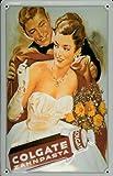 Blechschild Nostalgieschild Colgate Zahnpasta Dame Abendkleid Frau im Ballkleid Schild