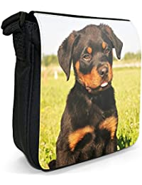 Rottweiler Dog Small Black Canvas Shoulder Bag - Size Small
