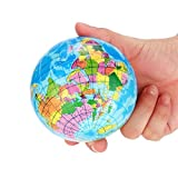 Weltkarte, Huihong Stress Entlasten Weltkarte Schaum Ball Atlas Globus Palme Ball Planeten Erde Ball Kinder Bildung Spielzeug Dekompression Spielzeug (76mm, Blau)
