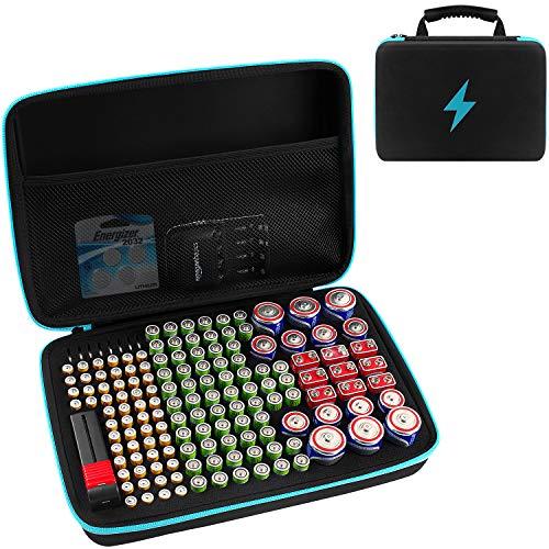 Batterie Aufbewahrungsbox für Batterieorganisator mit Batterietester (BT168), Tasche Halter für 152 Batterien AA AAA AAAA 9 V C D Lithium 3 V (ohne Batterien) (Blau)
