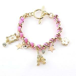 Bracelet breloque - Laiton - Bijou fantaisie mode et tendance - Etoiles - Rose - Livia - Cadeau Femme pas cher - Mes Bijoux Bracelets