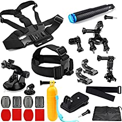 SHOOT 23-in-1 Accessori Kit Tutti in un Unico Outdoor Sport kit per GoPro Hero 6/5/4/3+/3/HERO(2018)/Fusion DBPOWER Apeman Campark WiMiUS YI CAMKONG Testa Toracica + Floating Bar + J-Hook + Ventosa