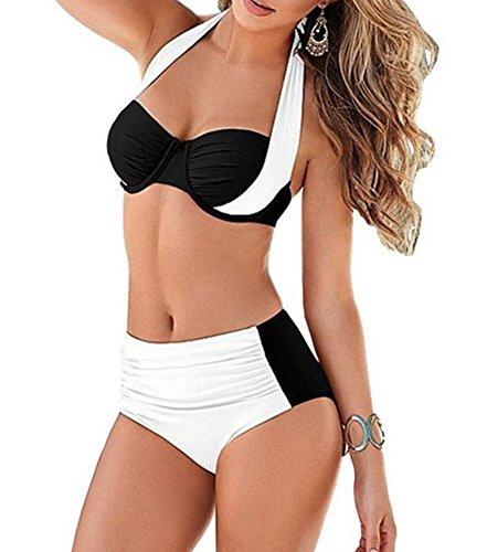 YAANCUN Mujeres Verano Cintura Alta Vintage Push Up Bikini Traje De Baño Beachwear Talla Alta S