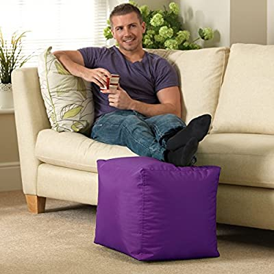 Bean Bag Bazaar 38cm x 38cm, Cube Bean Bag Stool - Indoor and Outdoor Use - Water Resistant, Weather Proof Bean Bags (2, Purple)
