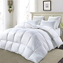 MoSurprise Luxury 90% White Goose Down Duvet Hypoallergenic 100% Cotton Shell Down Proof 13.5 Tog All Seasons Classic Quilt (King Size)