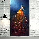 TTKX@ Große Frauen-Tänzer Malerei Bilder Modern HomeWandkunst als Geschenk Handgemalte Abstrakte Bling Ölgemälde auf Leinwand,70X140Cm