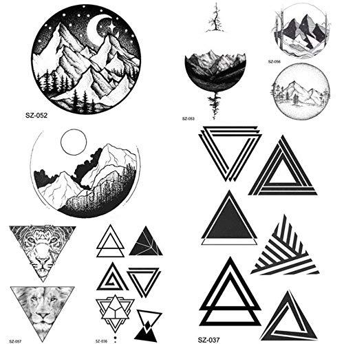 DIY Gefälschte Geometrische Dreieck Tattoo Frauen Hip Hop Temporäre Tätowierung Runde Mond Timber Tatto Aufkleber Männer Körper Arm Pfeile 10,5X6 cm