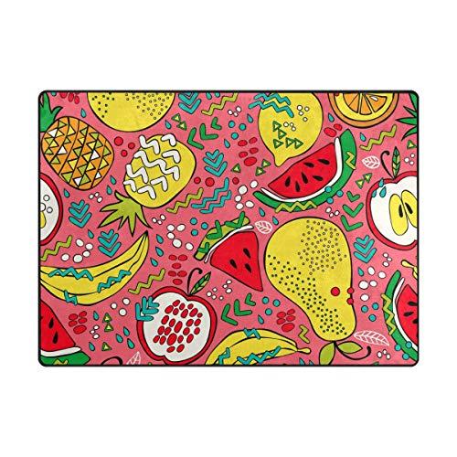 Orediy - Alfombra de Espuma Suave y Brillante, diseño de Frutas de Verano, tamaño Grande, Ligera...