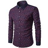 saihui Herren Casual Long Sleeve Business Shirt Print Slim Fit Bluse Top, XXL, wein, 2