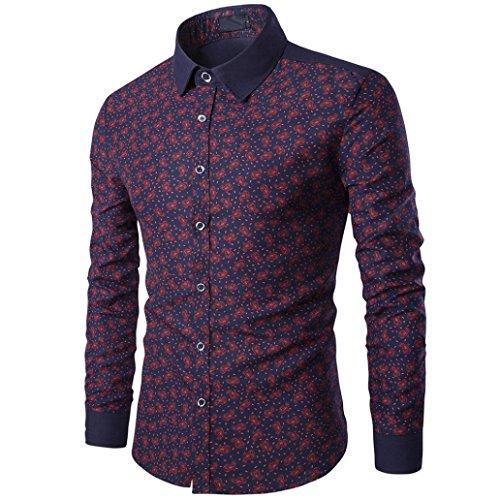 sports shoes 48c3a 007c3 Saihui uomo casual camicia a maniche lunghe Business Slim Fit camicia Blusa  con stampa, L
