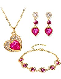 Navya Collection Crystal Combo Of Heart Pendant Necklace Set, Bangle Bracelet And Earrings For Women/Girls