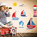 Harry & Bear Sail Boat Wall Stickers