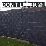 HAGAFREI DON'T LOOK Blickdichter Zaun-Sichtschutz und Lärmschutz für Doppelstabmatten, Rollen à 35 m x 19 cm, Sichtschutzstreifen, Zaunfolie, Windschutz, Balkon-Sichtschutz, Terrassen-Blickschutz, Sichtschutzband, Sichtschutzblende, aus witterungsbeständigem PVC (extrastark mit Gewebe durchsetzt), 100% UV-beständig, wetterfest, universal passend für alle Doppelstabmatten oder Stahlgitter mit Querdrahtabständen von 20 cm, verschiedene Farben, inkl. Befestigungs-Clips (Anthrazit)