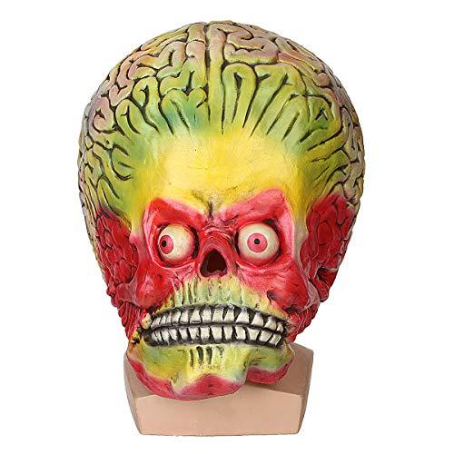 (JenNiFer Halloween Cosplay Alien Schädel Mars Maske Scary Brain Party Kostüm Requisiten)