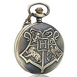 Harry Potter Hogwarts - Reloj de Bolsillo de Cuarzo para Hombres, Mujeres y niños, Color Bronce