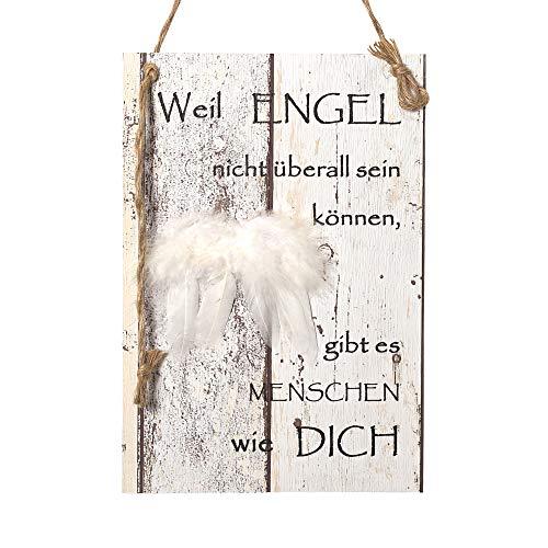 Wand Deko Holzschild mit Spruch im Shabby Chic Vintage Stil (29x20x0,5cm) - Weil Engel Nicht überall Sein können Gibt es Menschen Wie Dich - die Geschenkidee (29 x 20cm)