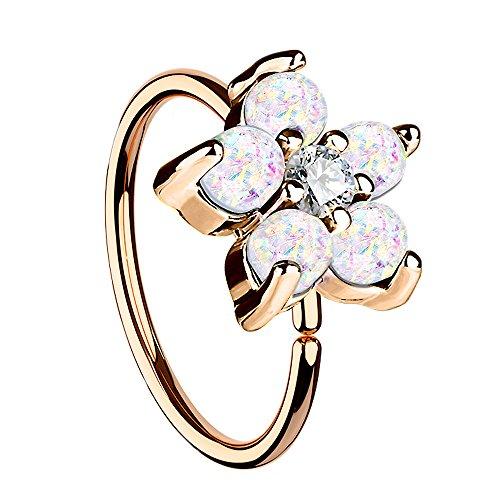 Piersando Universal Piercing Ring für Septum Tragus Helix Ohr Nase Lippe Brust Intim Horseshoe Hufeisen mit Opal Blumen Blüte Rosegold IP Weiß