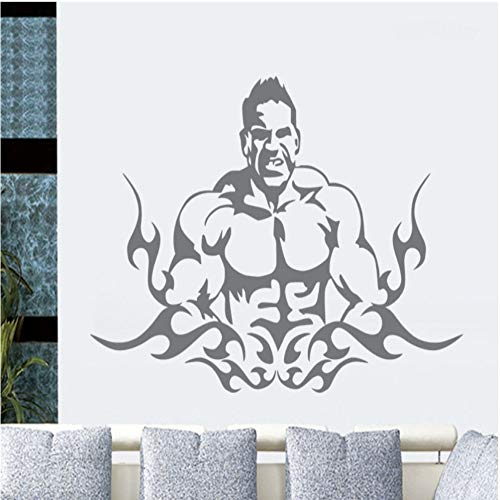 Geiqianjiumai Gym Aufkleber Wandaufkleber Körper Fitness Gym Poster Vinyl Wandaufkleber Wandaufkleber Sofa Hintergrund Grau 154cmxx110cm